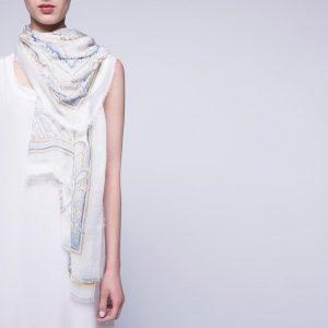 White and Blue Foulard