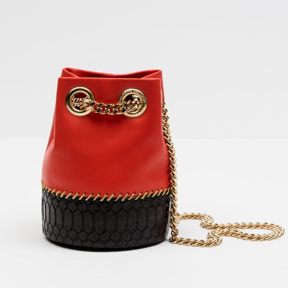 Gèranium & Black Python Bag