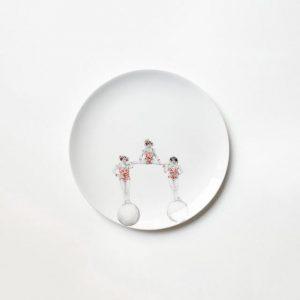 Hand painted Ceramic Plate - 3 Ballerina Balls