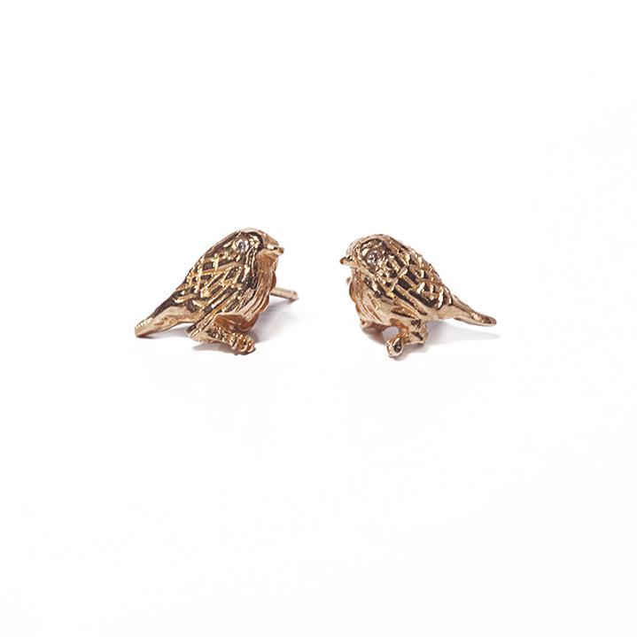 Yellow gold bird earrings with Diamond eye