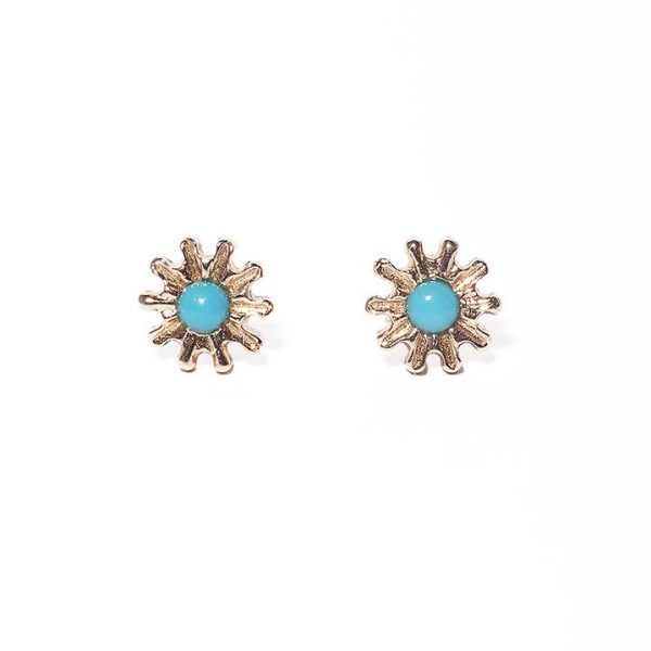 Yellow gold daisy earrings with turquoise